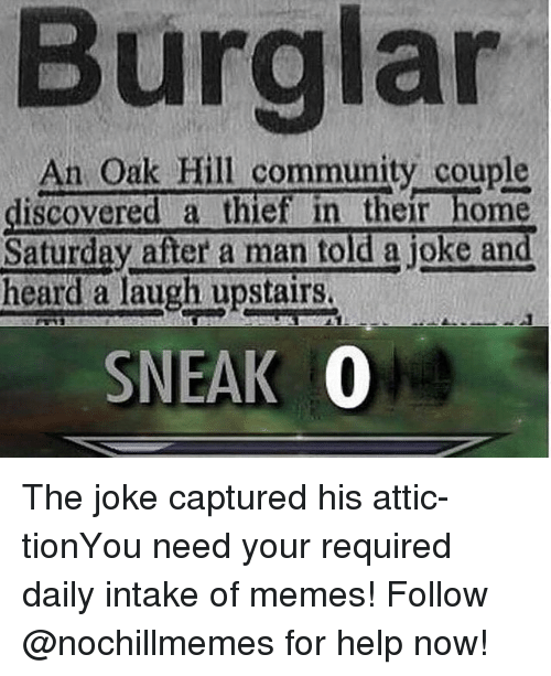 Community, Memes, and Help: Burglar  An Oak Hill community couple  discovered a thief in their home  Saturday after a man told a joke and  heard a laugh upstairs.  SNEAK 0 The joke captured his attic-tionYou need your required daily intake of memes! Follow @nochillmemes for help now!