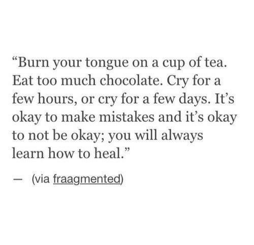 "Too Much, Chocolate, and How To: ""Burn your tongue on a cup of tea.  Eat too much chocolate. Cry for a  few hours, or cry for a few days. It's  okay to make mistakes and it's okay  to not be okay; you will always  learn how to heal  (via fraagmented)"
