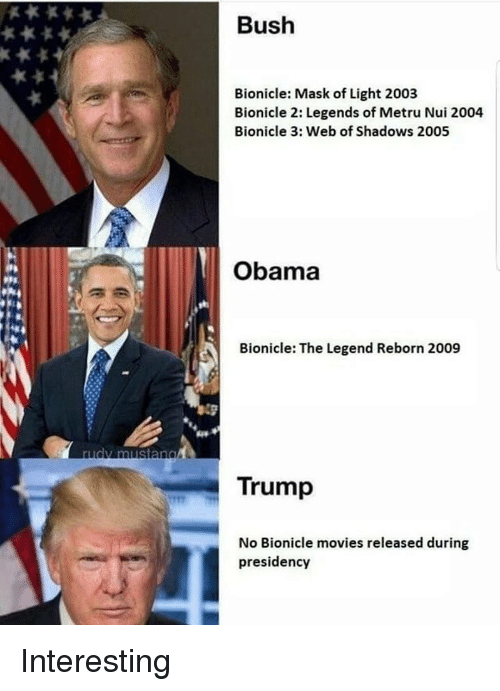 Memes, Movies, and Obama: Bush  Bionicle: Mask of Light 2003  Bionicle 2: Legends of Metru Nui 2004  Bionicle 3: Web of Shadows 2005  Obama  Bionicle: The Legend Reborn 2009  rudy mustang  Trump  No Bionicle movies released during  presidency Interesting