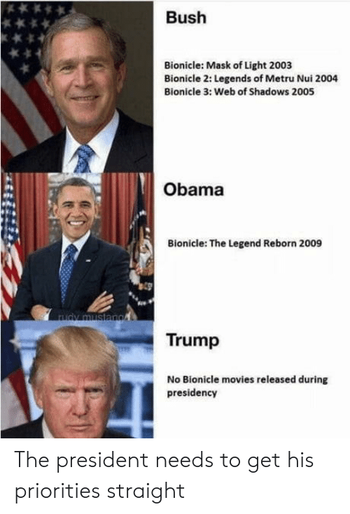 Movies, Obama, and Trump: Bush  Bionicle: Mask of Light 2003  Bionicle 2: Legends of Metru Nui 2004  Bionicle 3: Web of Shadows 2005  Obama  Bionicle: The Legend Reborn 2009  Trump  No Bionicle movies released during  presidency The president needs to get his priorities straight