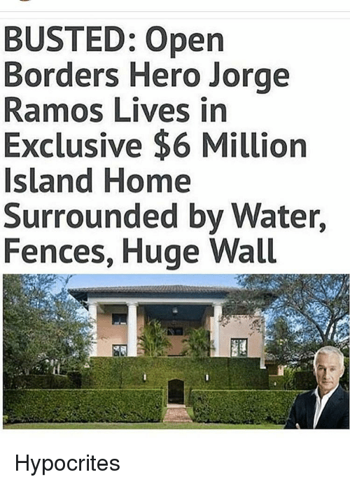 Memes, Home, and Water: BUSTED: Open  Borders Hero Jorge  Ramos Lives in  Exclusive $6 Million  Island Home  Surrounded by Water  Fences, Huge Wall Hypocrites