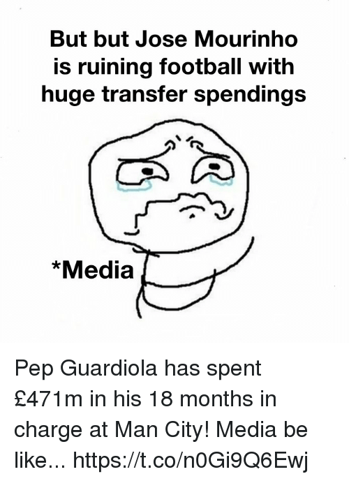 pep guardiola: But but Jose Mourinho  is ruining football with  huge transfer spendings  *Media Pep Guardiola has spent £471m in his 18 months in charge at Man City!  Media be like... https://t.co/n0Gi9Q6Ewj