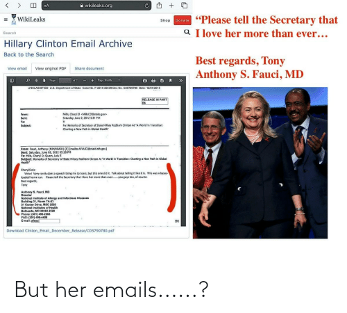 Emails: But her emails......?