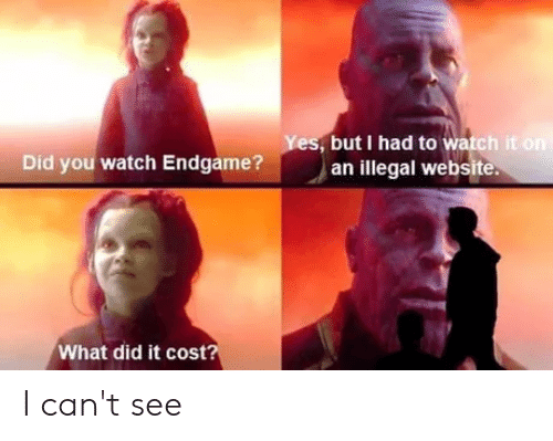 Reddit, Watch, and Website: , but I had to watch it  Did you watch Endgame? an llegal website  What did it cost I can't see