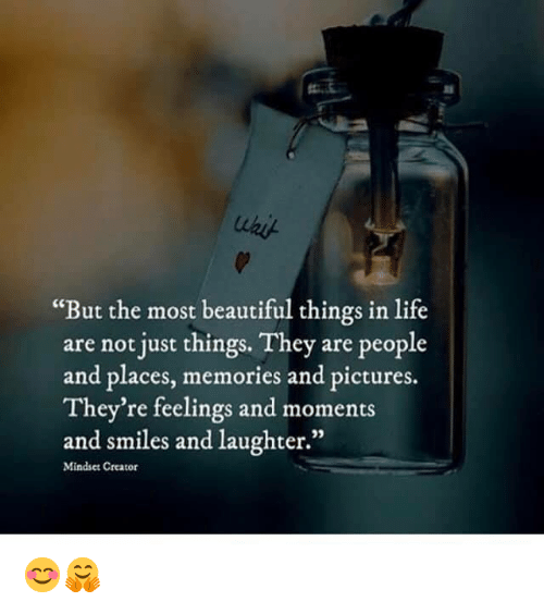 "Just Things: ""But the most beautiful things in life  are not just things. They are people  and places, memories and pictures.  They're feelings and moments  and smiles and laughter.""  35  Mindset Creator 😊🤗"