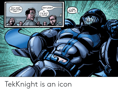 Fuck, Good, and Fuck It: BUT WHAT  GOOD DOES  THAT  GENTLEMEN?  I CAN  FUCK IT  IF  IT'S GOT  A HOLE TekKnight is an icon