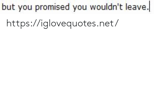 Promised: but you promised you wouldn't leave. https://iglovequotes.net/