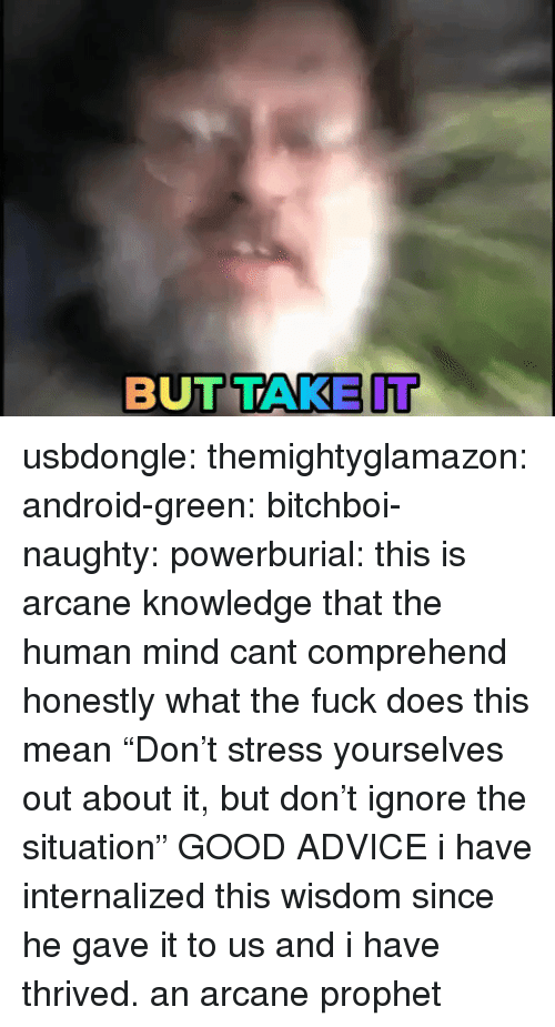 """Advice, Android, and Tumblr: BUTTAKE IT usbdongle: themightyglamazon:  android-green:  bitchboi-naughty:   powerburial: this is arcane knowledge that the human mind cant comprehend  honestly what the fuck does this mean   """"Don't stress yourselves out about it, but don't ignore the situation""""   GOOD ADVICE   i have internalized this wisdom since he gave it to us and i have thrived. an arcane prophet"""