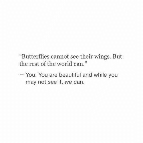 "Beautiful, Wings, and World: ""Butterflies cannot see their wings. But  the rest of the world can.""  -You. You are beautiful and while you  may not see it, we can."