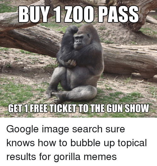 Google, Meme, and Memes: BUY 1 ZOO  PASS  GETS FREE TICKETTO THE GUNSHOW Google image search sure knows how to bubble up topical results for gorilla memes