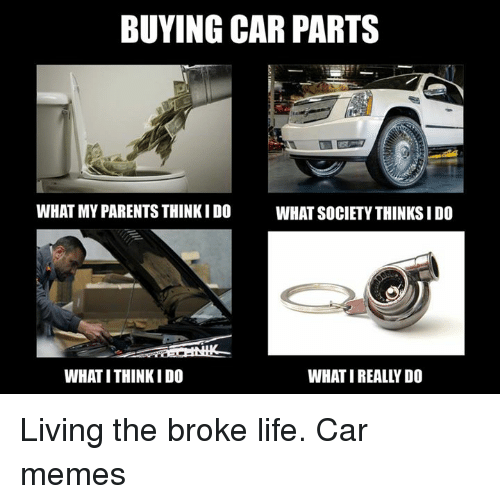 Cars, Life, and Memes: BUYING CAR PARTS  WHAT MY PARENTS THINK I DO  WHAT SOCIETY THINKS I DO  WHAT ITHINKIDO  WHAT IREALLYDO Living the broke life. Car memes