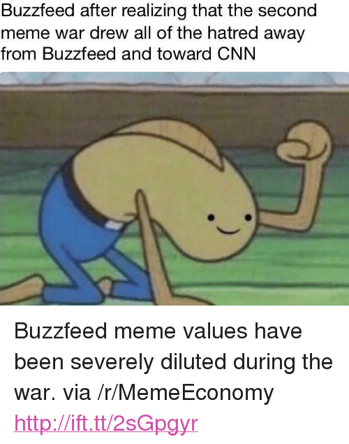 """meme war: Buzzfeed after realizing that the second  meme war drew all of the hatred away  from Buzzfeed and toward CNN <p>Buzzfeed meme values have been severely diluted during the war. via /r/MemeEconomy <a href=""""http://ift.tt/2sGpgyr"""">http://ift.tt/2sGpgyr</a></p>"""