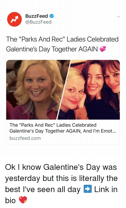 """Best, Buzzfeed, and Link: BuzzFeed  @BuzzFeed  The """"Parks And Rec"""" Ladies Celebrated  Galentine's Day Together AGAIN  The """"Parks And Rec"""" Ladies Celebrated  Galentine's Day Together AGAIN, And I'm Emot...  buzzfeed.com Ok I know Galentine's Day was yesterday but this is literally the best I've seen all day ➡️ Link in bio 💖"""