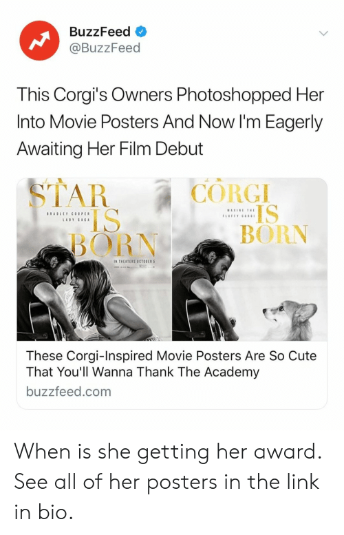 posters: BuzzFeed  @BuzzFeed  This Corgi's Owners Photoshopped Her  Into Movie Posters And Now I'm Eagerly  Awaiting Her Film Debut  CORGI  IS  BORN  BORN  IN THEATERS OCTOBER  These Corgi-Inspired Movie Posters Are So Cute  That You'll Wanna Thank The Academy  buzzfeed.com When is she getting her award. See all of her posters in the link in bio.