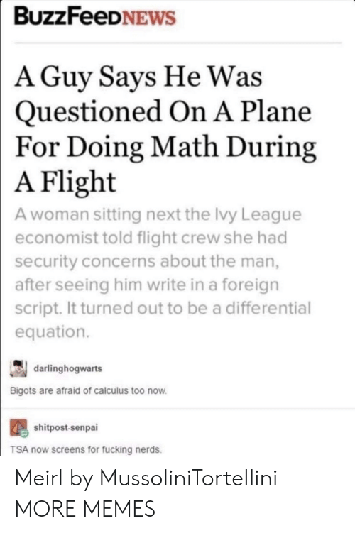 Dank, Fucking, and Memes: BUZZFeeDNEWS  A Guy Savs He Was  Questioned On A Plane  For Doing Math During  Flight  A woman sitting next the Ivy League  economist told flight crew she had  security concerns about the man,  after seeing him write in a foreign  script. It turned out to be a differential  equation.  A  darlinghogwarts  Bigots are afraid of calculus too now  shitpost-senpai  TSA now screens for fucking nerds. Meirl by MussoIiniTorteIIini MORE MEMES