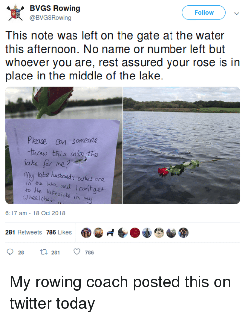 Pease: BVGS Rowing  @BVGSRowing  Follow  this afternoon. No name or number left but  whoever you are, rest assured your rose is in  place in the middle of the lake.  Pease an someane  thew this into tho  lake for me?  mu labe hushond'c aushes are  in tta lake and Icont aet  ro he lakeside  hee Icha  6:17 am -18 Oct 2018  281 Retweets 786 Likes  6.小心  028  281  786 My rowing coach posted this on twitter today