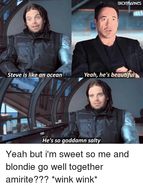 Beautiful, Memes, and Being Salty: BXCKYBARNes  Yeah, he's beautiful  Steve is like an ocean  He's so goddamn salty Yeah but i'm sweet so me and blondie go well together amirite??? *wink wink*