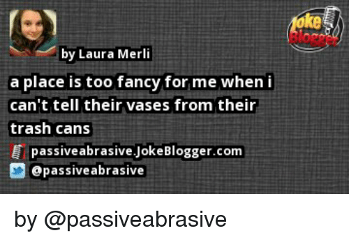 fanciness: by Laura Merli  a place is too fancy for me when i  can't tell their vases from their  trash cans  passive abrasive.JokeBlogger.com  apassive abrasive by @passiveabrasive
