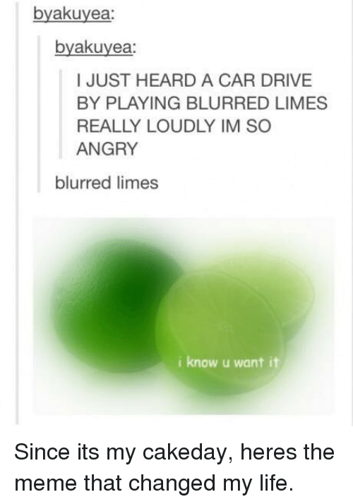 Drive By, Life, and Meme: byakuyea:  byakuyea  I JUST HEARD A CAR DRIVE  BY PLAYING BLURRED LIMES  REALLY LOUDLY IM SO  ANGRY  blurred limes  i know u want it Since its my cakeday, heres the meme that changed my life.