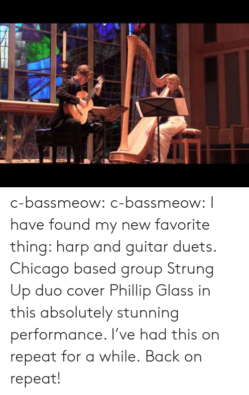 duets: c-bassmeow:  c-bassmeow: I have found my new favorite thing: harp and guitar duets. Chicago based group Strung Up duo cover Phillip Glass in this absolutely stunning performance. I've had this on repeat for a while.  Back on repeat!