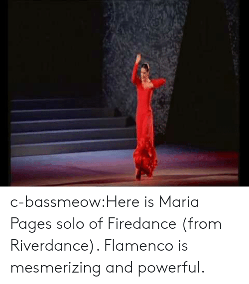 pages: c-bassmeow:Here is Maria Pages solo of Firedance (from Riverdance). Flamenco is mesmerizing and powerful.