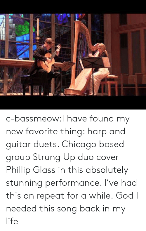 duets: c-bassmeow:I have found my new favorite thing: harp and guitar duets. Chicago based group Strung Up duo cover Phillip Glass in this absolutely stunning performance. I've had this on repeat for a while. God I needed this song back in my life