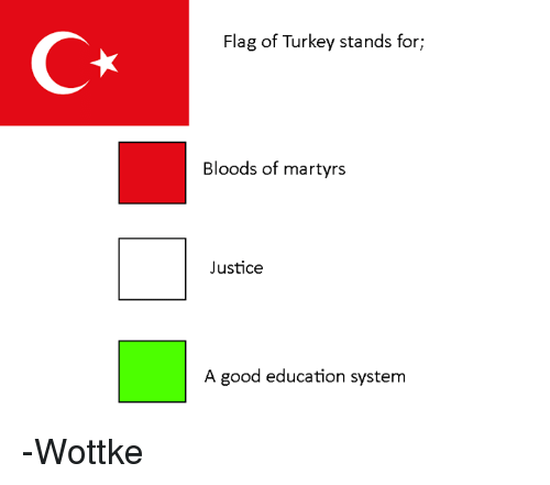 Bloods, Good, and Justice: C*  Flag of Turkey stands for;  Bloods of martyrs  Justice  A good education system -Wottke