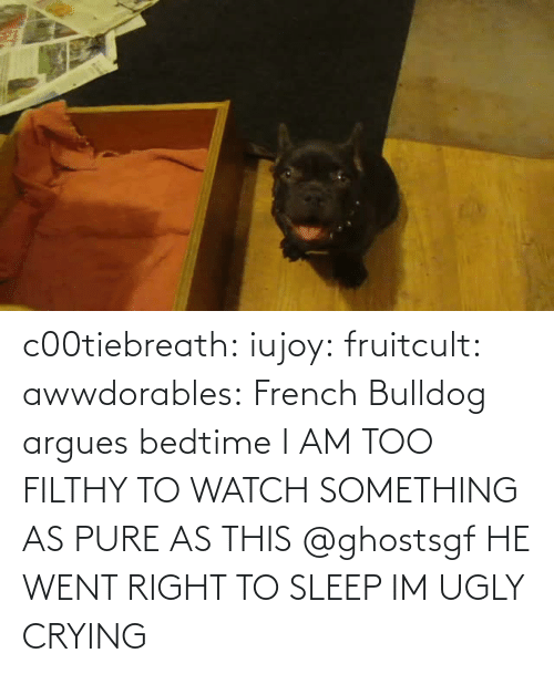 Crying: c00tiebreath:  iujoy:   fruitcult:  awwdorables:  French Bulldog argues bedtime  I AM TOO FILTHY TO WATCH SOMETHING AS PURE AS THIS   @ghostsgf   HE WENT RIGHT TO SLEEP IM UGLY CRYING