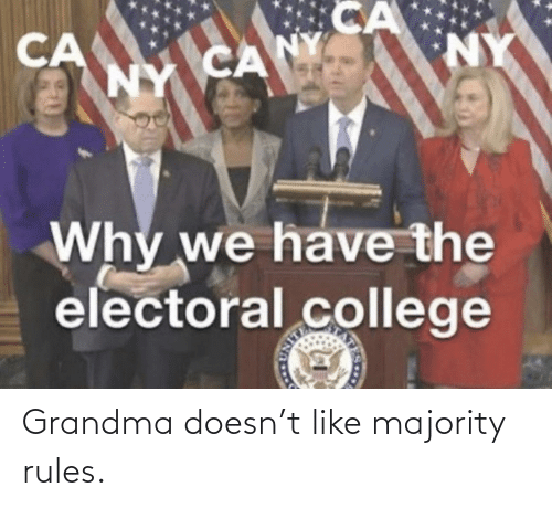College, Grandma, and Forwardsfromgrandma: CA  NY CANY  NY  CA  Why we have the  electoral college Grandma doesn't like majority rules.