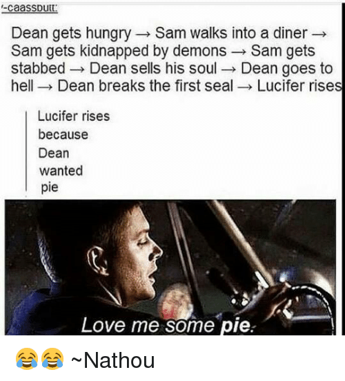 Hungry, Memes, and Lucifer: caaSSDutt  Dean gets hungry Sam walks into a diner  Sam gets kidnapped by demons  Sam gets  stabbed Dean sells his soul  Dean goes to  hell Dean breaks the first seal  Lucifer rises  Lucifer rises  because  Dean  wanted  pie  Love me some pie 😂😂 ~Nathouツ