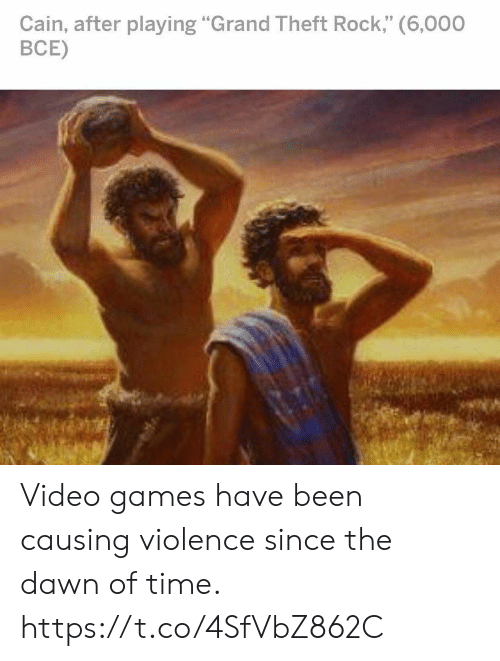 """Theft: Cain, after playing """"Grand Theft Rock,"""" (6,000  ВСЕ) Video games have been causing violence since the dawn of time. https://t.co/4SfVbZ862C"""