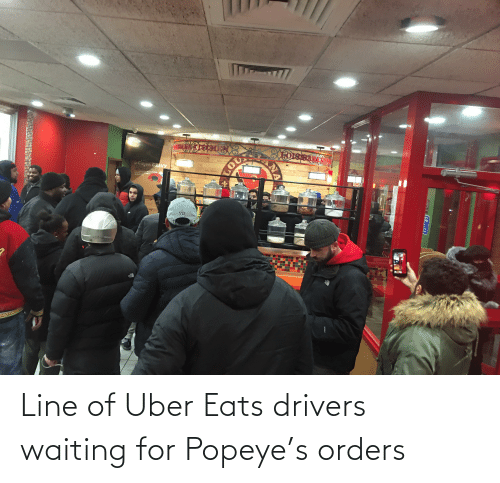 Popeye: Cajun GRAVY  LOU  TA  ATOLVI ITCAYDN  ICKI  TEECRSCTINA  PETS  ONED  VII  HYVENT  202 Line of Uber Eats drivers waiting for Popeye's orders