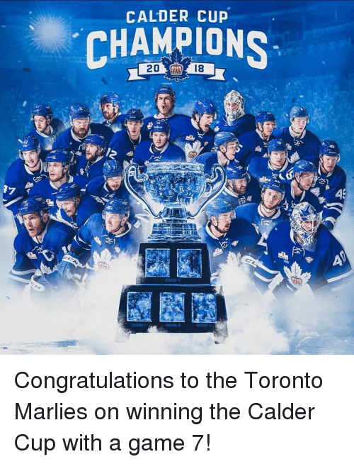 calder: CALDER CUP  CHAMPIONS  2018 Congratulations to the Toronto Marlies on winning the Calder Cup with a game 7!