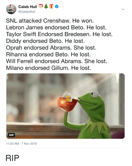 Oprah Winfrey: Caleb HullATo  @CalebJHull  SNL attacked Crenshaw. He won.  Lebron James endorsed Beto. He lost.  Taylor Swift Endorsed Bredesen. He lost.  Diddy endorsed Beto. He lost.  Oprah endorsed Abrams. She lost.  Rihanna endorsed Beto. He lost.  Will Ferrell endorsed Abrams. She lost.  Milano endorsed Gillum. He lost.  GIF  11:03 AM-7 Nov 2018 RIP