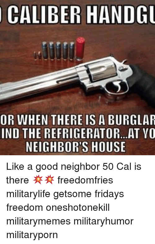 Burglarer: CALIBER HANDGU  OR WHEN THERE IS A BURGLAR  IND THE REFRIGERATOR...AT VO  NEIGHBORS HOUSE Like a good neighbor 50 Cal is there 💥💥 freedomfries militarylife getsome fridays freedom oneshotonekill militarymemes militaryhumor militaryporn