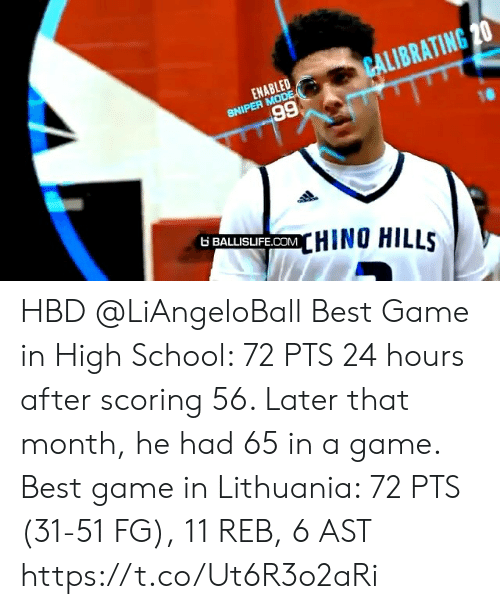 A Game: CALIBRATING 20  ENABLED  SNIPER MODE  66  6 BALLISIFE.COMHINO HILLS HBD @LiAngeloBall  Best Game in High School: 72 PTS 24 hours after scoring 56. Later that month, he had 65 in a game.   Best game in Lithuania: 72 PTS (31-51 FG), 11 REB, 6 AST https://t.co/Ut6R3o2aRi