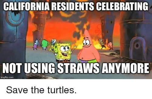 California, Com, and Turtles: CALIFORNIA RESIDENTS CELEBRATING  NOT USING STRAWS ANYMORE  imgflip.com Save the turtles.