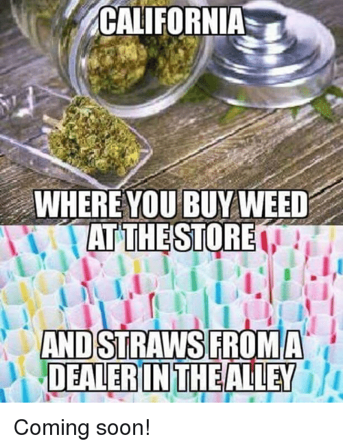 Memes, Soon..., and California: CALIFORNIA  WHERE YOU BUYWEED  ATTHESTORE  ANDSTRAWS FROMA  DEALERIN THE Coming soon!