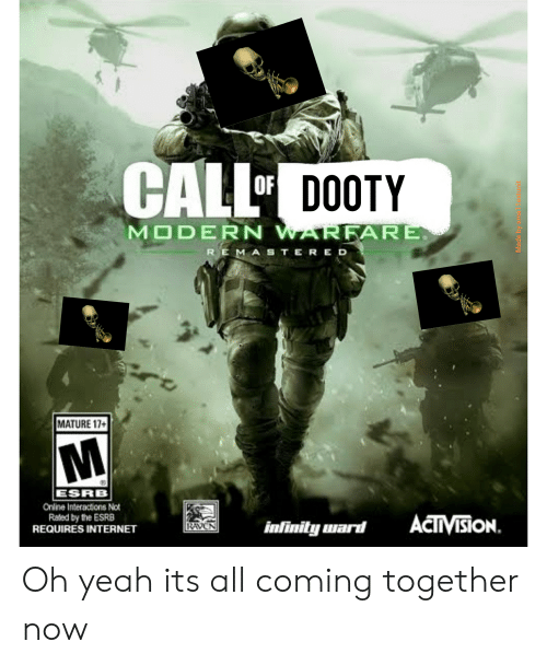 Internet, Yeah, and Infinity: CALL  DOOTY  MODERN WARFARE  REMASTERED  MATURE 17+  ESRB  Online Interactions Not  Raled by the ESRB  REQUIRES INTERNET  ACTVISION.  infinity ward  RAVEN  Made by sma Testunit Oh yeah its all coming together now