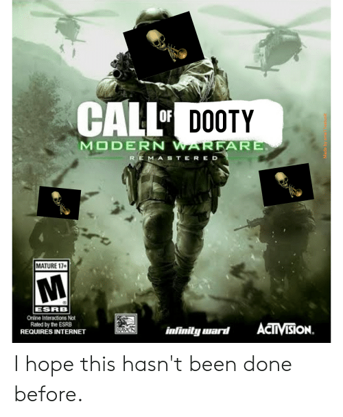 Internet, Infinity, and Raven: CALL  DOOTY  MODERN WARFARE  REMASTERED  MATURE 17+  ESRB  Online Interactions Not  Raled by the ESRB  REQUIRES INTERNET  ACTVISION.  infinity ward  RAVEN  Made by sma Testunit I hope this hasn't been done before.