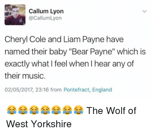 """England, Funny, and Music: Callum Lyon  @CallumLyon  Cheryl Cole and Liam Payne have  named their baby """"Bear Payne"""" which is  exactly what I feel when l hear any of  their music.  02/05/2017, 23:16 from Pontefract, England 😂😂😂😂😂😂😂 The Wolf of West Yorkshire"""