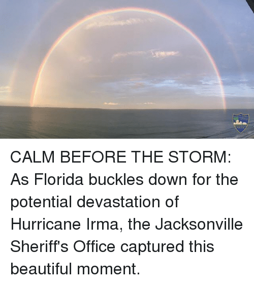 Beautiful, Memes, and Florida: CALM BEFORE THE STORM: As Florida buckles down for the potential devastation of Hurricane Irma, the Jacksonville Sheriff's Office captured this beautiful moment.