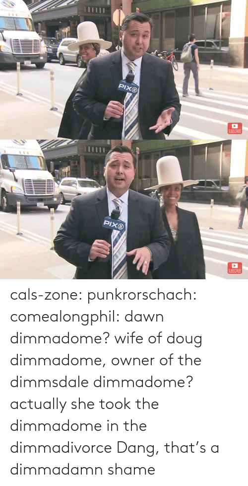 Wife: cals-zone: punkrorschach:  comealongphil: dawn dimmadome? wife of doug dimmadome, owner of the dimmsdale dimmadome?  actually she took the dimmadome in the dimmadivorce     Dang, that's a dimmadamn shame