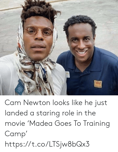 camp: Cam Newton looks like he just landed a staring role in the movie 'Madea Goes To Training Camp' https://t.co/LTSjw8bQx3