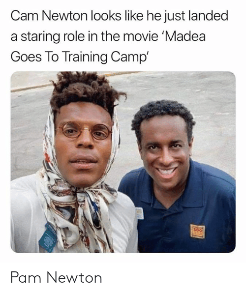 camp: Cam Newton looks like he just landed  a staring role in the movie 'Madea  Goes To Training Camp'  too Pam Newton