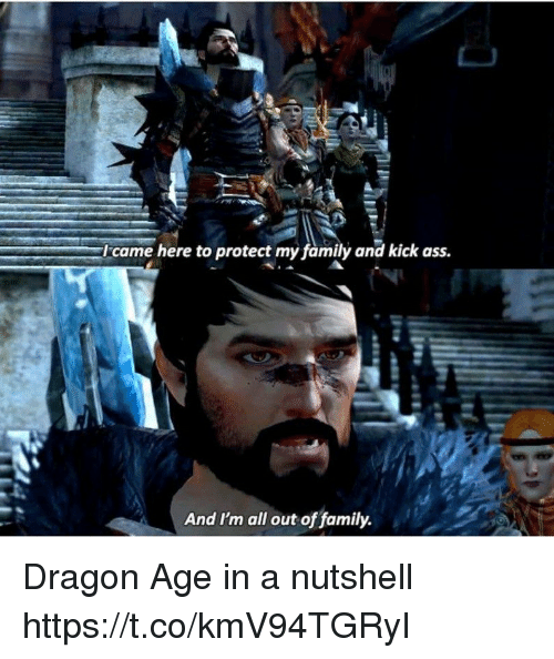 kick ass: came here to protect my family and kick ass.  And I'm all out of family. Dragon Age in a nutshell https://t.co/kmV94TGRyI