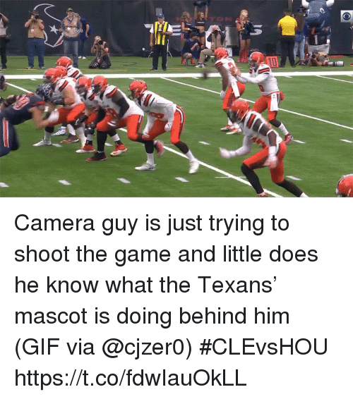 Gif, Sports, and The Game: Camera guy is just trying to shoot the game and little does he know what the Texans' mascot is doing behind him   (GIF via @cjzer0) #CLEvsHOU https://t.co/fdwIauOkLL