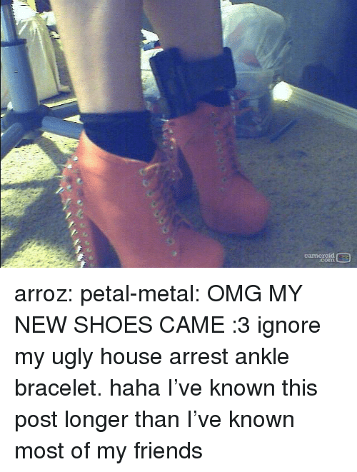 petal: cameroid  corn arroz:  petal-metal: OMG MY NEW SHOES CAME :3 ignore my ugly house arrest ankle bracelet. haha  I've known this post longer than I've known most of my friends
