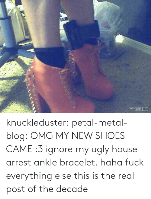 petal: cameroid  corn knuckleduster: petal-metal-blog: OMG MY NEW SHOES CAME :3 ignore my ugly house arrest ankle bracelet. haha fuck everything else this is the real post of the decade