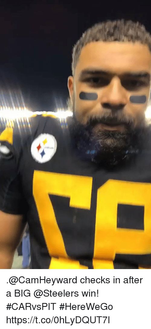 Memes, Steelers, and 🤖: .@CamHeyward checks in after a BIG @Steelers win! #CARvsPIT  #HereWeGo https://t.co/0hLyDQUT7l